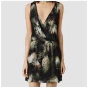 AllSaints Blake Colada black palm print dress 4
